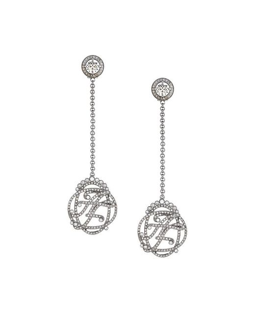 Alberta Ferretti - Metallic Stoned Earrings - Lyst