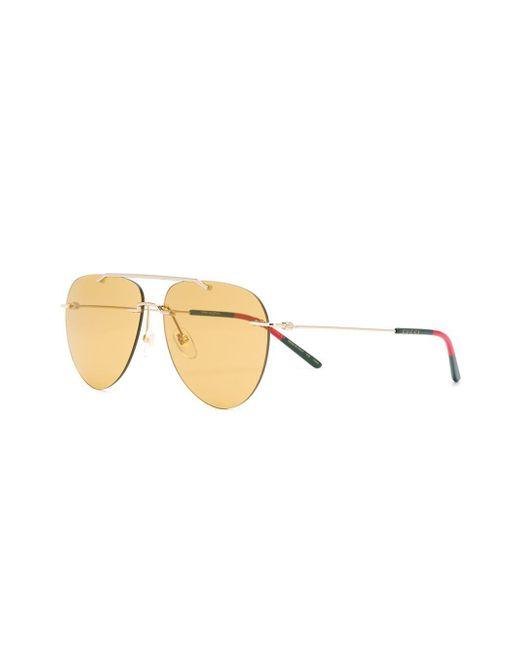52f4ec29cb28 ... Gucci - Metallic Aviator Frame Sunglasses for Men - Lyst ...
