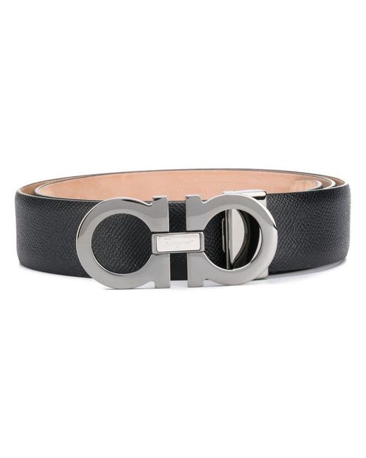 4f43c18679e48 Lyst - Ferragamo Double Gancio Belt in Black for Men