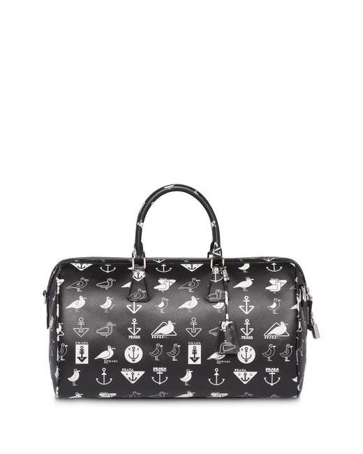 485e6165968c ... Prada - Black Printed Saffiano Leather Travel Bag for Men - Lyst ...