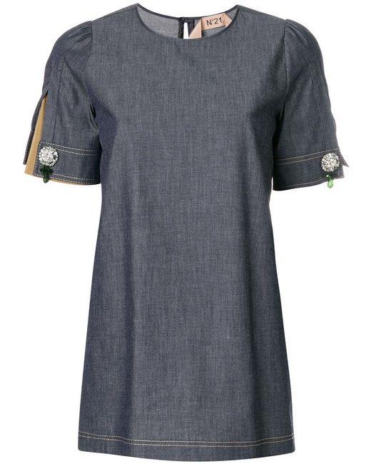 N°21 - Blue Puff Sleeve Blouse - Lyst