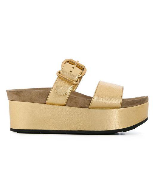 c03ac01551b3 Prada - Metallic Stacked Sole Sandals - Lyst ...