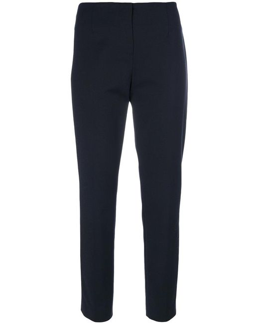 Les Copains - Blue Cropped Tailored Trousers - Lyst