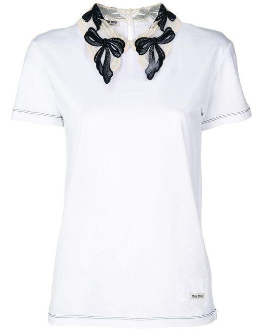 Miu miu lace collar t shirt in white lyst for Miu miu t shirt