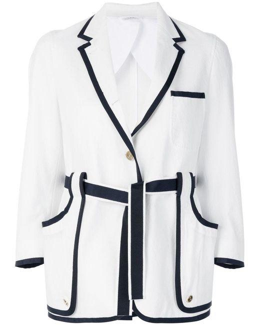 Thom Browne | White Contrast Trim Belted Blazer | Lyst