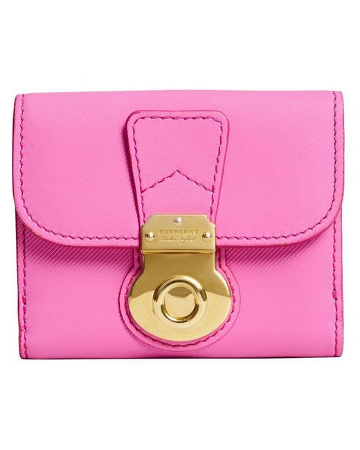 Burberry - Pink Lock Closure Compact Wallet - Lyst