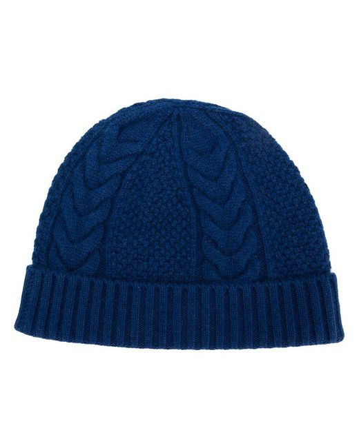 35948bd8835 Lyst - N.Peal Cashmere Cable Knit Beanie in Blue