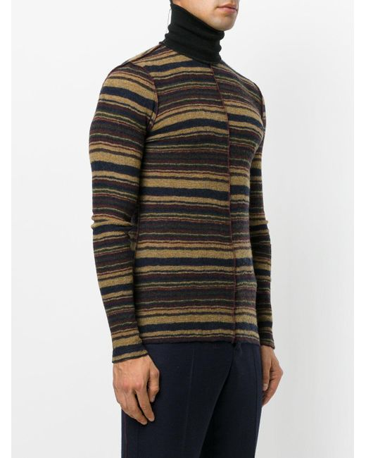 Maison margiela Striped Fitted Roll-neck Sweater in Brown for Men ...