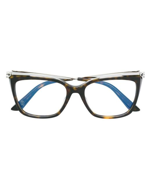 Cartier - Brown Cat Eye Glasses - Lyst