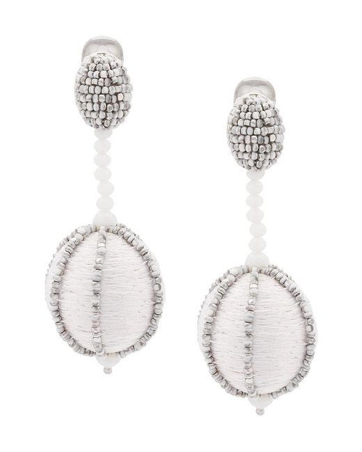 Oscar de la Renta - Gray Single Line Dropped Ball Clip-on Earrings - Lyst
