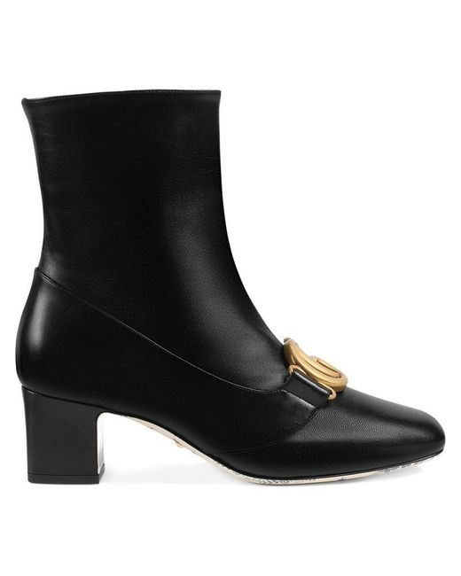 946aad28b39 Gucci - Black Double G Leather Ankle Boots - Lyst ...