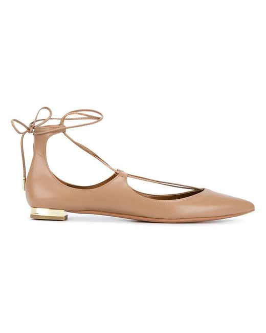 Aquazzura - Natural Christy Leather Ballet Flats - Lyst