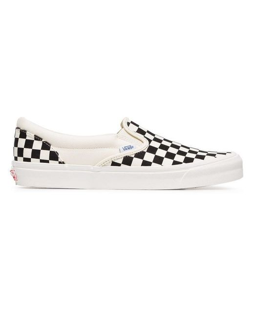 d927419b3e Vans - Black Og Classic Lx Checkerboard Canvas Slip-on Sneakers for Men -  Lyst ...