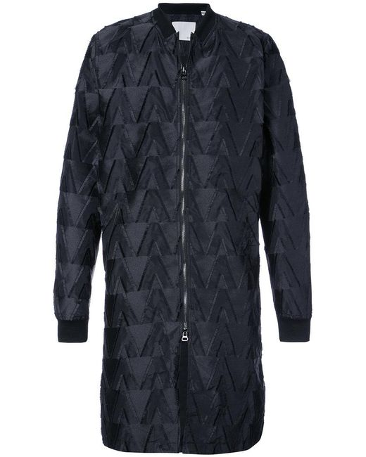 Private Stock - Black Textured Pattern Zip Front Coat for Men - Lyst