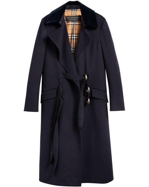 Burberry - Blue D-ring Detail Doeskin Wool Coat - Lyst