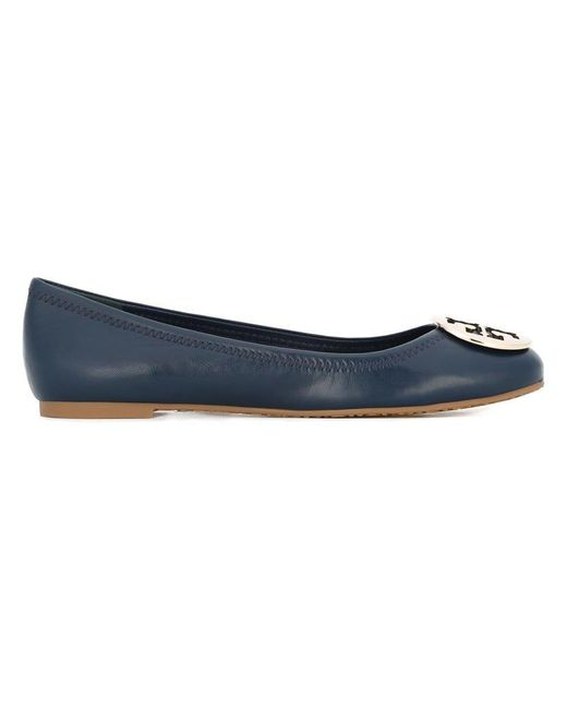 Tory Burch - Blue Reva Ballerinas With Logo - Lyst