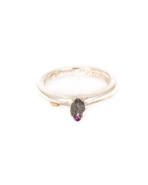 Rosa Maria - Metallic Solitaire Ruby Ring - Lyst