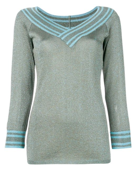 Charlott - Green Metallic Knitted Pullover - Lyst