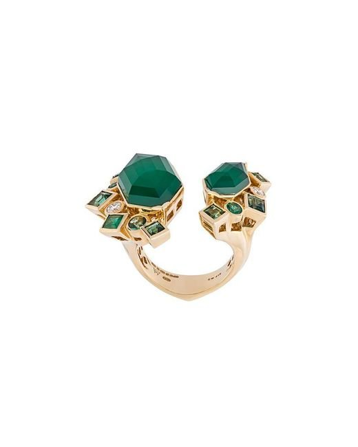 Stephen Webster - Green 'crystal Haze' Emerald And Diamond Ring - Lyst