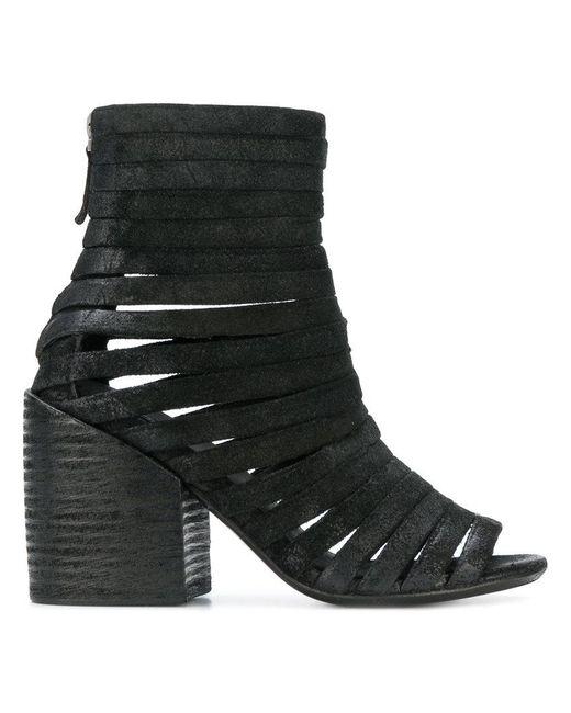 b2f1516948e Women's Black Lattice Open Toe Ankle Boots