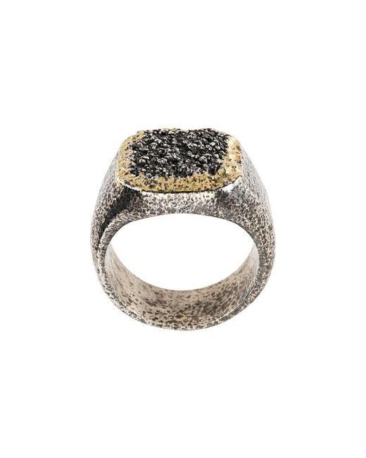 Tobias Wistisen - Metallic Grain Effect Chevalière Ring for Men - Lyst