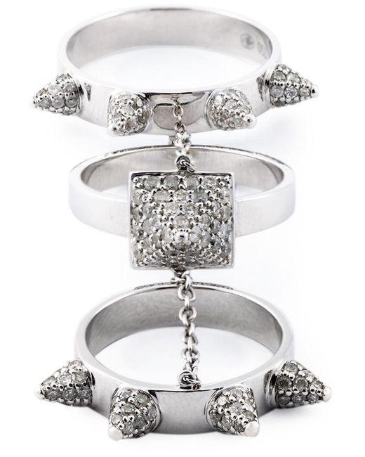 Elise Dray - Metallic Diamond Three-piece 'piccadilly' Ring - Lyst