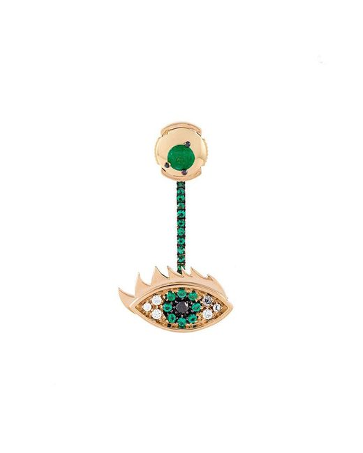 Delfina Delettrez - Metallic 'eyes On Me' Diamond And Emeralds Earrings - Lyst
