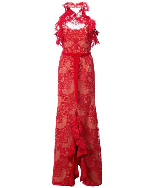 Marchesa notte - Red Ruffled Guipure Lace Gown - Lyst
