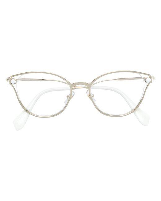 Miu Miu - Metallic Faux Pearl-embellished Cat-eye Glasses - Lyst