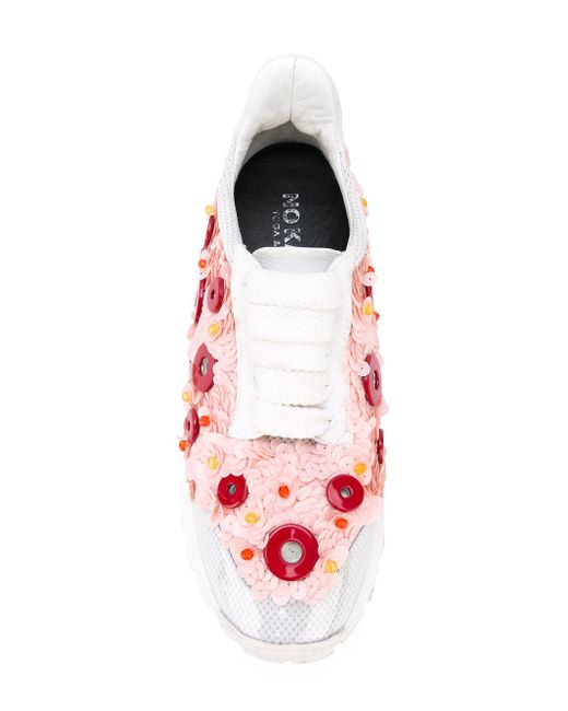 ... No Ka  oi - White Button Embellished Sneakers - Lyst ee17d384d