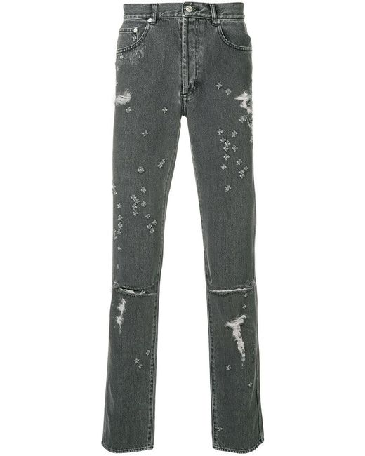 Givenchy - Gray Distressed Skinny Jeans for Men - Lyst