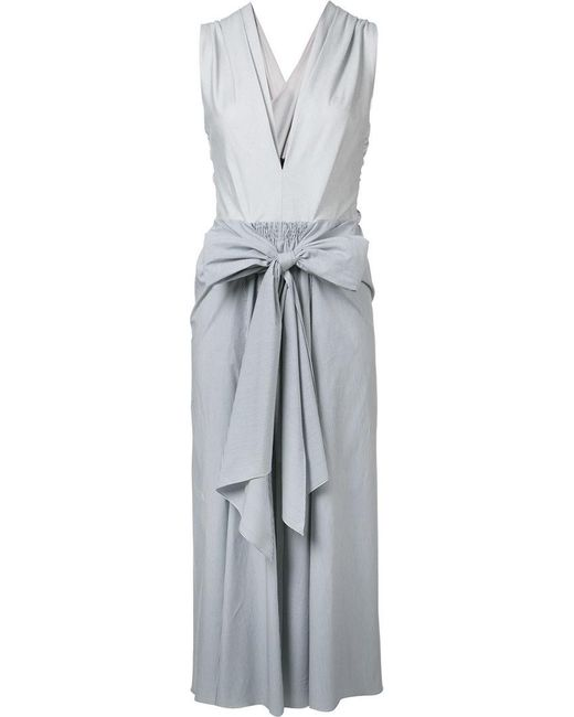 TOME | White 'thin Stripe Bow Front' Dress | Lyst