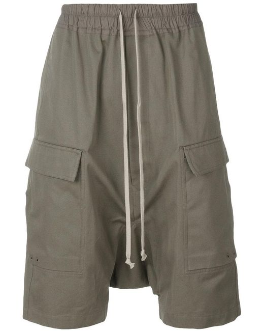 Rick Owens - Green Drop-crotch Pocket Shorts for Men - Lyst