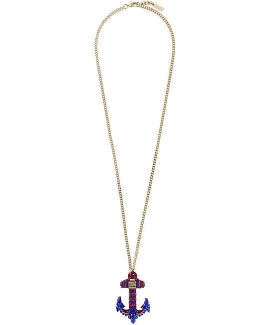 Rada' - Blue Anchor Pendant Elongated Necklace - Lyst