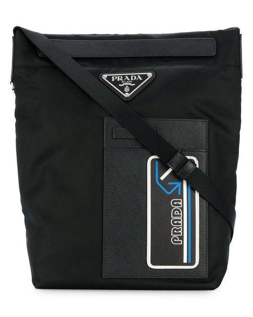 d82304e4f1f3 Prada - Black Logo Zipped Messenger Bagt for Men - Lyst ...