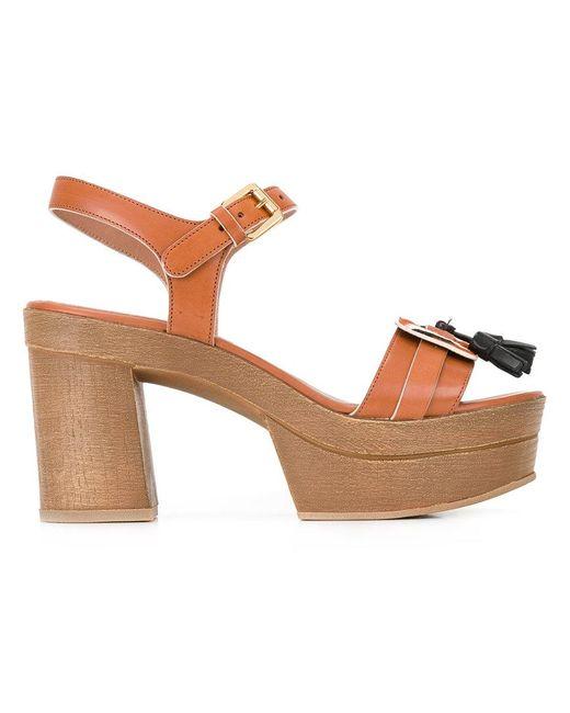 L'Autre Chose - Brown Hanging Tassels Sandals - Lyst