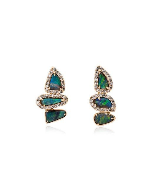 Kimberly Mcdonald - Metallic Blue And Gold Opal And Diamond Earrings - Lyst