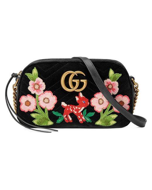 10e84c1473e Gucci - Black GG Marmont Velvet Small Shoulder Bag - Lyst ...