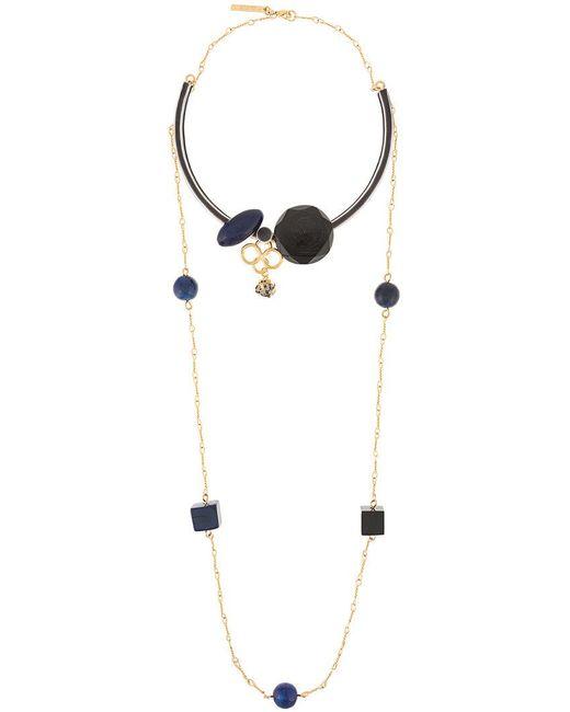 Marni - Metallic Geometric Shapes Double Necklace - Lyst