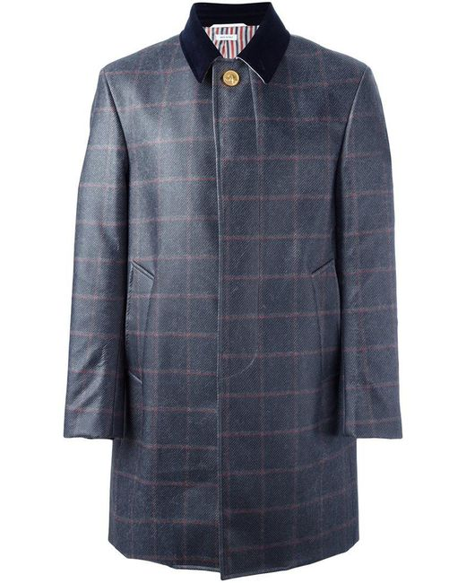 Thom Browne - Blue Checked Ball Collar Overcoat for Men - Lyst