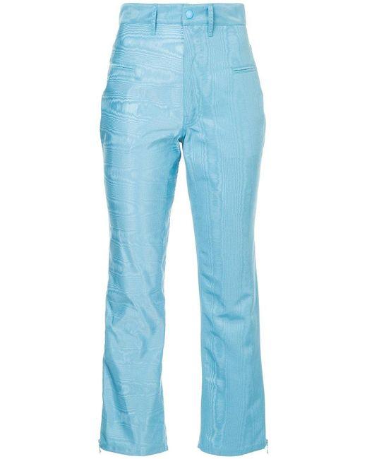 MARINE SERRE - Blue Moire Trousers - Lyst