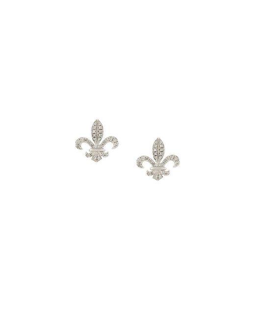 Elise Dray - Metallic Fleur-de-lys Diamond Stud Earrings - Lyst