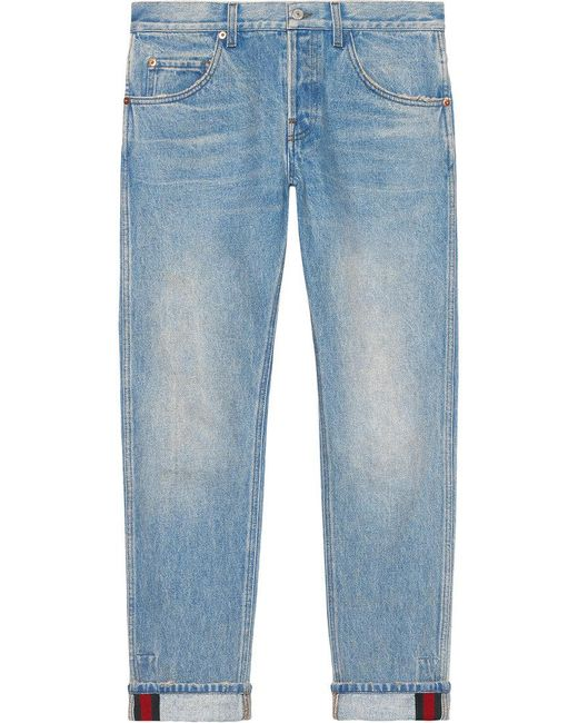 Gucci - Blue Tapered Denim Pant With Web for Men - Lyst