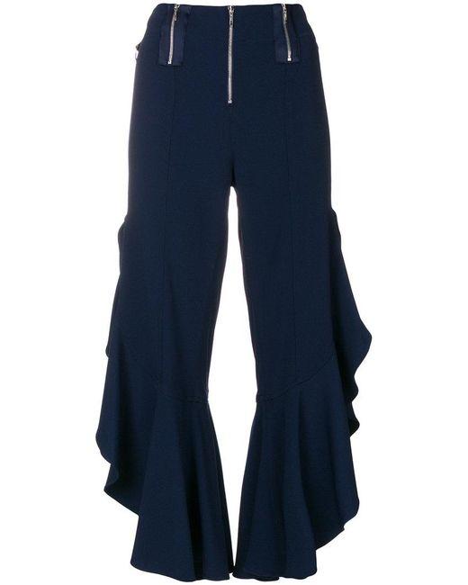 Jonathan Simkhai - Blue Cropped Ruffle Trousers - Lyst