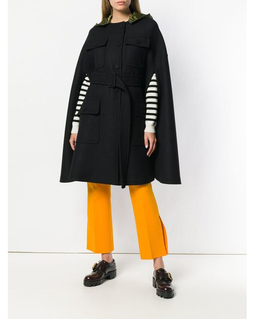 ... N°21 - Black Hooded Cape Coat - Lyst ... e5120ed292e