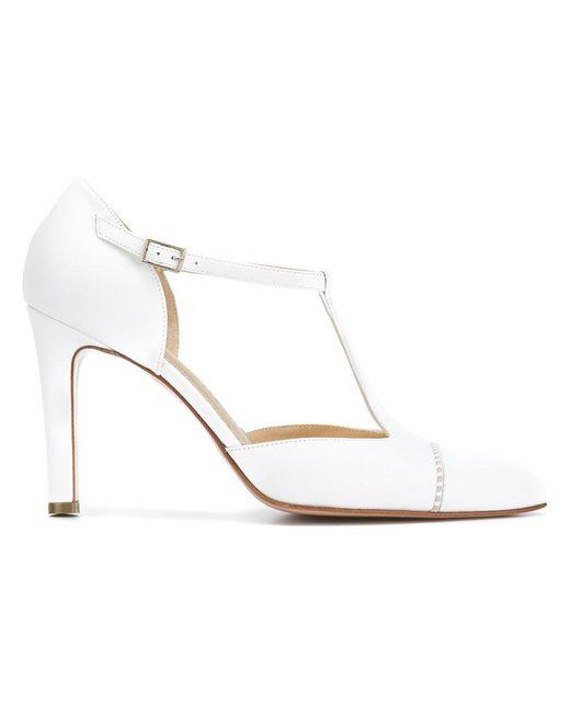 Antonio Barbato - White Pointed Ankle Strap Pumps - Lyst