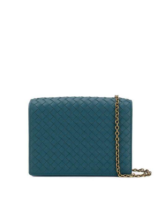 31d02f5a46 Bottega Veneta - Blue Woven Clutch Bag - Lyst ...