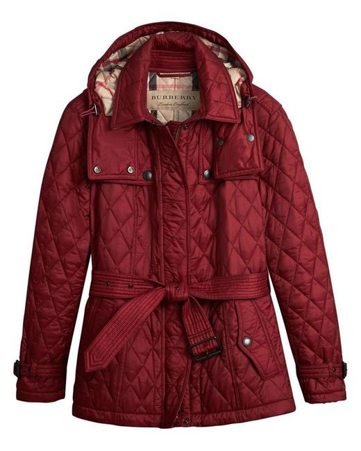 Burberry - Red Quilted Trench Jacket - Lyst