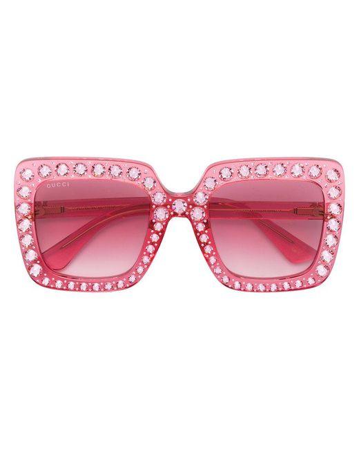 Gucci | Pink Crystal-embellished Square-frame Acetate Sunglasses | Lyst