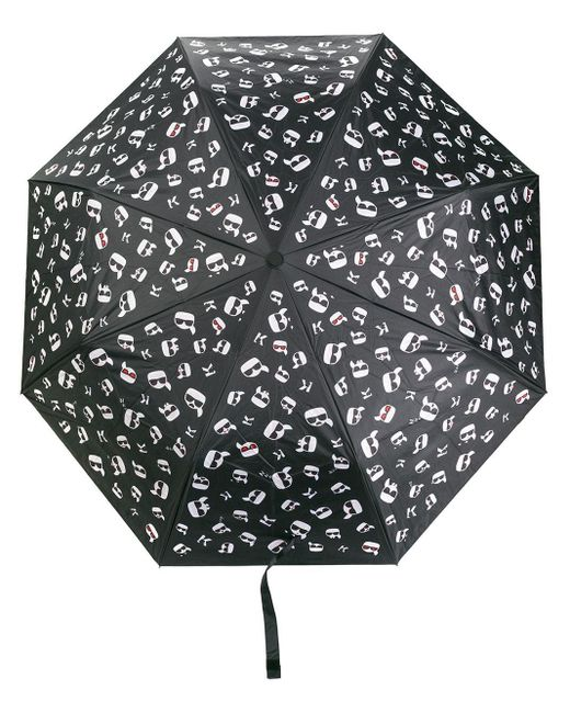 Karl Lagerfeld Black Ikonik Printed Umbrella